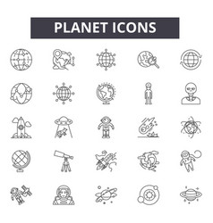 planet line icons signs set outline vector image