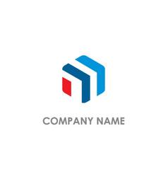 polygon line shape company logo vector image