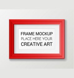 realistic rectangular red frame template frame on vector image