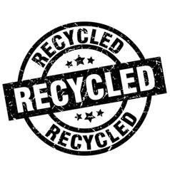 Recycled round grunge black stamp vector