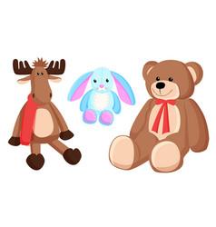reindeer bunny christmas toys vector image
