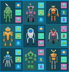 Robot models group isolated on dark backgrounds vector