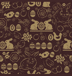 seamless pattern with easter eggs rabbits vector image