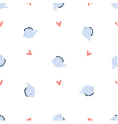 seamless pattern with fluke fish and hearts vector image