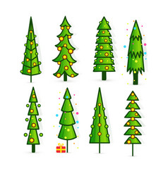 set christmas trees pines icons in flat style vector image