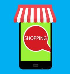Shopping online with use phone vector image vector image