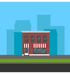 small cafe in flat polygonal style vector image
