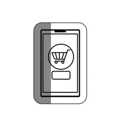 smartphone with shopping cart isolated icon vector image