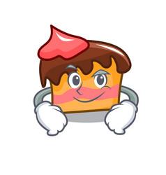 Smirking sponge cake character cartoon vector