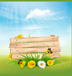 Spring nature background with grass and flowers vector