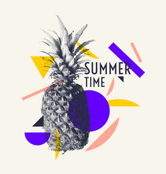 summer time stylish poster trendy graphics vector image