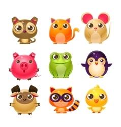 Sweet Baby Animals In Girly Design vector image