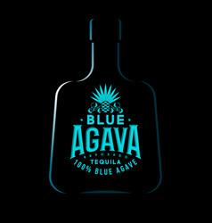 Tequila emblem blue agave label logo vintage vector