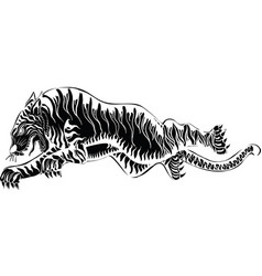 Thai traditional tattoo tiger vector