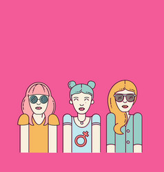 Three beautiful women on pink background vector