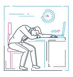 tired businessman - line design style vector image