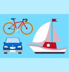 transportations bicycle car vector image