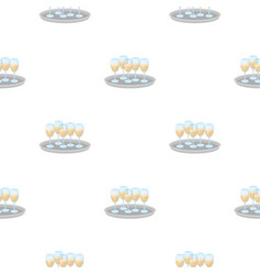 tray with champagne glasses icon in cartoon style vector image
