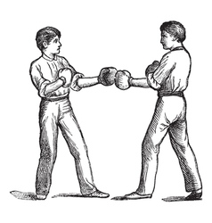 Two boxers vintage engraving vector image