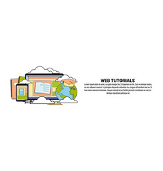 web tutorial education concept horizontal banner vector image