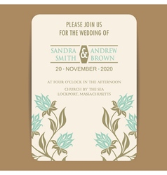 wedding invitation with vintage flowers vector image