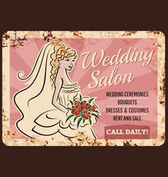 Wedding salon bride shop metal rusty plate vector