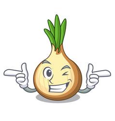 Wink yellow onions in the cartoon basket vector