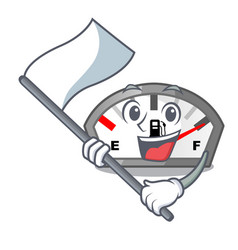 With flag gasoline indicator in the a mascot vector