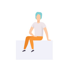 young man sitting in casual clothes and blue hair vector image