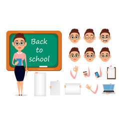 back to school cute teacher with pointer and vector image vector image