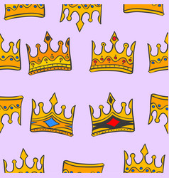 gold crown glamour pattern art vector image
