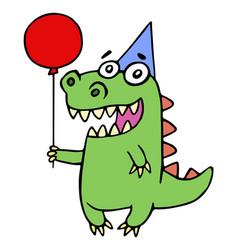 happy birthday greeting dragon vector image