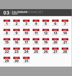 march calendar icons set date and time 2018 vector image vector image