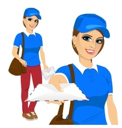 post woman delivering mail vector image