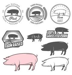 Set of pork labels badges and design elements vector image vector image
