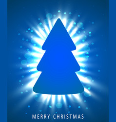 christmas tree made of blue paper on blue vector image vector image