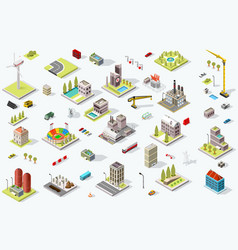 Isometric city map set vector