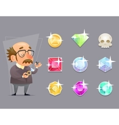 Jeweler valuer appraiser quality check process vector