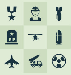 Battle icons set with military chopper rocket vector