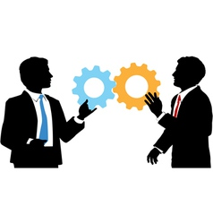 Business people join tech collaboration solution vector image vector image