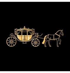 Carriage golden silhouette with horse vector image