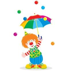 Circus clown with an umbrella vector image