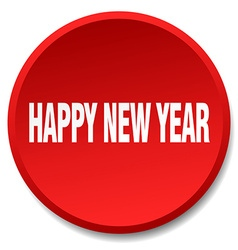 happy new year red round flat isolated push button vector image vector image