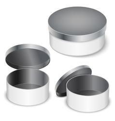 open round metal box vector image