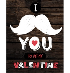 retro valentines typography on wooden planks vector image vector image