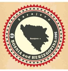 Vintage label-sticker cards of Bosnia and Herzegov vector image