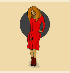 woman in red dress posing eps 8 vector image vector image