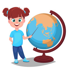 cute girl points to the globe with a pointer vector image