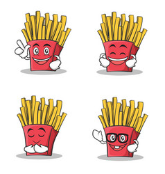 set of french fries cartoon character vector image vector image