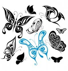 set of tattoo butterflies vector image vector image